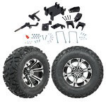 "GTW 5"" Lift w/ 12"" Specter Machined/ Black Wheel & Barrage Mud Tire For E-Z-GO RXV (2008-Up)"