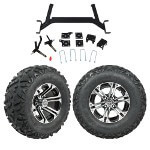 "GTW 5"" Lift w/ 12"" Specter Machined/ Black Wheel & Barrage Mud Tire For E-Z-GO TXT (2001.5-Up)"