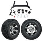 "GTW 5"" Lift w/ 12"" Yellow Jacket Machined/ Black Wheel & Recon A/ T Tire For E-Z-GO TXT (2001.5-Up)"