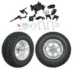 "GTW 5"" Lift w/ 12"" Yellow Jacket Machined/ Silver Wheel & Recon A/ T Tire For E-Z-GO RXV (2008-Up)"