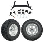 "GTW 5"" Lift w/ 12"" Yellow Jacket Machined/ Silver Wheel & Recon A/ T Tire For E-Z-GO TXT (2001.5-Up)"