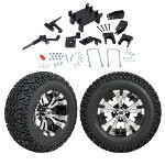 "GTW 5"" Lift w/ 12"" Vampire Machined/ Black Wheel & Recon A/ T Tire For E-Z-GO RXV (2008-Up)"