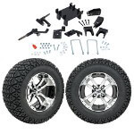 "GTW 5"" Lift w/ 12"" Storm Trooper Machined/ Black Wheel & Recon A/ T Tire For E-Z-GO RXV (2008-Up)"