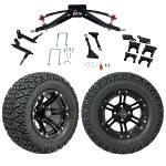 "GTW 6"" Lift w/ 12"" Specter Matte Black Wheel & Recon A/ T Tire For Club Car Precedent (2004-Up)"