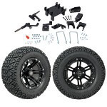 "GTW 5"" Lift w/ 12"" Specter Matte Black Wheel & Recon A/ T Tire For E-Z-GO RXV (2008-Up)"