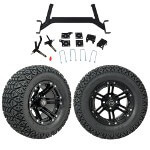 "GTW 5"" Lift w/ 12"" Specter Matte Black Wheel & Recon A/ T Tire For E-Z-GO Electric TXT (2001.5-Up)"