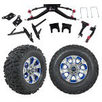 "GTW 6"" Lift w/ 12"" Nemesis Metallic Wheel & Barrage Mud Tire For Club Car DS (2004.5-Up)"