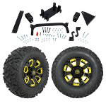 "GTW 5"" Lift w/ 12"" Nemesis Black Wheel & Barrage Mud Tire For Yamaha (G29/ Drive)"
