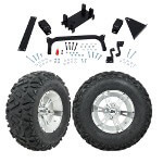 "GTW 5"" Lift w/ 12"" Yellow Jacket Machined/ Silver Wheel & Barrage Mud Tire For Yamaha (G29/ Drive)"