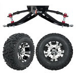 "GTW 6"" Lift w/ 12"" Vampire Machined/ Black Wheel & Barrage Mud Tire For Club Car DS (1982-2003)"