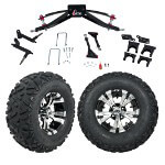 "GTW 6"" Lift w/ 12"" Vampire Machined/ Black Wheel & Barrage Mud Tire For Club Car Precedent (2004-Up)"