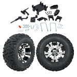 "GTW 5"" Lift w/ 12"" Vampire Machined/ Black Wheel & Barrage Mud Tire For E-Z-GO RXV (2008-Up)"