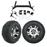 "GTW 5"" Lift w/ 12"" Vampire Machined/ Black Wheel & Barrage Mud Tire For E-Z-GO TXT (2001.5-Up)"