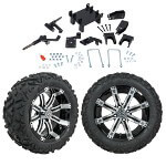 "GTW 5"" Lift w/ 14"" Tempest Machined/ Black Wheel & Barrage Mud Tire For E-Z-GO RXV (2008-Up)"