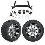 "GTW 5"" Lift w/ 14"" Tempest Machined/ Black Wheel & Barrage Mud Tire For E-Z-GO TXT (2001.5-Up)"