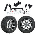"GTW 5"" Lift w/ 14"" Tempest Machined/ Black Wheel & Barrage Mud Tire For Yamaha (G29/ Drive)"