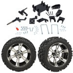 "GTW 5"" Lift w/ 14"" Yellow Jacket Machined/ Black Wheel & Barrage Mud Tire For E-Z-GO RXV (2008-Up)"