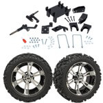"GTW 5"" Lift w/ 14"" Yellow Jacket Machined/ Black Wheel & Barrage Mud Tire For E-Z-GO TXT (2001.5-Up)"