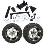 "GTW 5"" Lift w/ 14"" Yellow Jacket Machined/ Black Wheel & Barrage Mud Tire For Yamaha (G29/ Drive)"