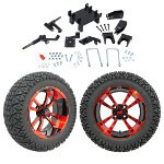"GTW 5"" Lift w/ 14"" Storm Trooper Red/ Black Wheel & Recon A/ T Tire For E-Z-GO RXV (2008-Up)"