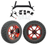 "GTW 5"" Lift w/ 14"" Storm Trooper Red/ Black Wheel & Recon A/ T Tire For E-Z-GO TXT (2001.5-Up)"