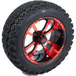 Set of (4) 14 inch Red/ Black Storm Trooper Wheels on A/ T Tires (Lift Required)